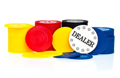 Poker chips and dealer button Stock Image