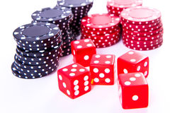 Poker chips and dice Royalty Free Stock Photo