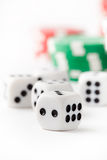Poker chips and dice Royalty Free Stock Photography