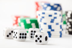 Poker chips and dice Stock Photo