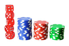 Poker Chips and Dice. On White Background Royalty Free Stock Photos