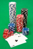 Poker chips, dice and cards Stock Images