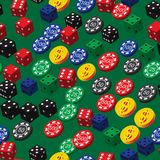 Poker Chips Dice and Coins Seamless Pattern Stock Image