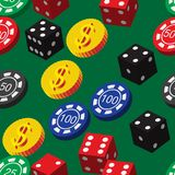 Poker Chips Dice and Coins Seamless Pattern Royalty Free Stock Photos