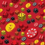 Poker Chips Dice and Coins Seamless Pattern Stock Photos
