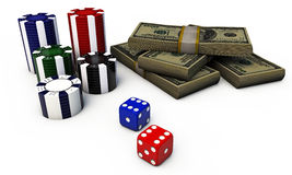Poker chips with dice and green dollars Stock Image