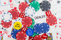 Poker chips,dice and playing cards Royalty Free Stock Photo