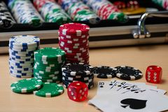 Casino Poker Chips, dice and cards stock photos