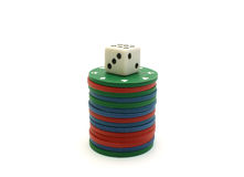 Poker chips and dice Stock Photography