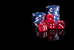 Poker chips and dices Stock Image