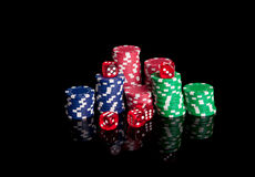 Poker chips and dices royalty free stock photography