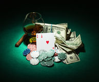 Poker chips and dollar bills Royalty Free Stock Photography