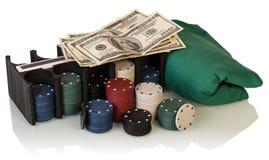 Poker chips and dollar bills Stock Photo