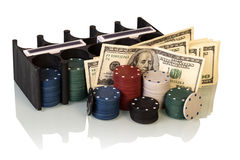 Poker chips and dollar bills Royalty Free Stock Image