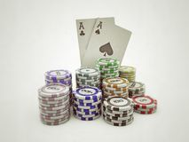Poker chips and double aces Stock Images