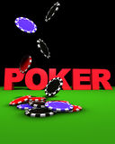 Poker Chips Fall. 3d rendering of poker sign and colored chips falling on a green table. Great background for magazines, banners, webpages, flyers, etc Royalty Free Stock Image