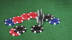Poker chips falling on table stock video