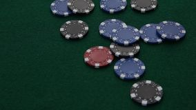 Poker Chips falling on table. stock video footage