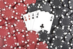 Poker chips with four aces Stock Photography