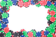 Poker chips frame. Frame made of poker colorful chips stock image