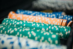 Poker Chips on a gaming table Royalty Free Stock Photos