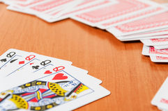 Poker chips and generic playing cards Royalty Free Stock Photography