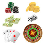 Poker chips, golden coins with dollar, money, aces playing cards Stock Photos