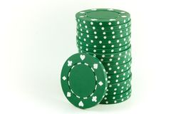 Poker Chips - Green stock photo