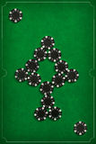 The poker chips on green background Stock Photography