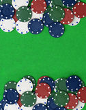 Poker chips on a green table. Background with room for your text Royalty Free Stock Photography