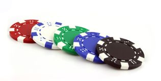 Poker Chips on an isolated background. 5 Poker chips on an isolated background Royalty Free Stock Photos