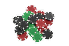Poker chips isolated on white. Green, red and black poker chips isolated on white background Stock Photography