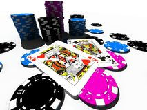 Poker chips with king pair Royalty Free Stock Image