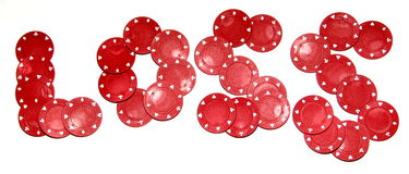 Poker chips - loss royalty free stock photo