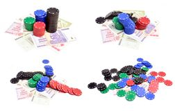 Poker chips and millions dollars Stock Photo