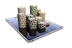 Poker chips on modern tablet Stock Image