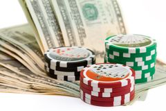 Poker chips and money Stock Photo