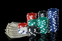 Poker chips with money royalty free stock photography