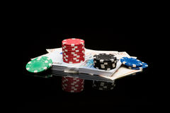 Poker chips and money Royalty Free Stock Photos