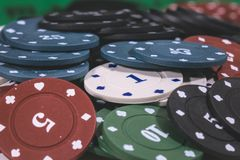 Poker Chips Multi Color Royaltyfri Bild