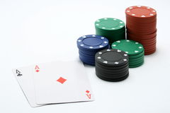 Poker Chips And A Pair Of Aces Stock Images