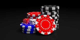 Poker chips pile isolated on black background, front view. 3d illustration stock illustration