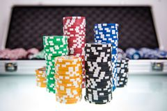 Poker Chips Piles Stock Image