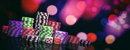 Poker chips piles and dice on abstract bokeh background, banner, copy space. 3d illustration vector illustration