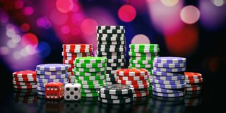 Poker chips piles and dice on abstract bokeh background. 3d illustration royalty free illustration