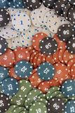Poker chips. Plastic poker chips with numbers Royalty Free Stock Photos