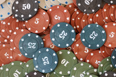 Poker chips. Plastic poker chips with numbers Royalty Free Stock Photography