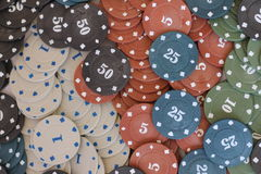 Poker chips. Plastic poker chips with numbers Stock Photography