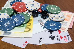 Poker chips with playing card and euro Royalty Free Stock Image