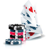 Poker chips and playing cards vector illustration